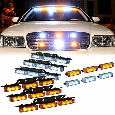 54 + 18 LED White & Amber Emergency Vehicle Strobe Flash Light Front Rear Grill