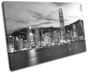 Hong-Kong-Skyline-Skyscraper-City-SINGLE-CANVAS-WALL-ART-Picture-Print