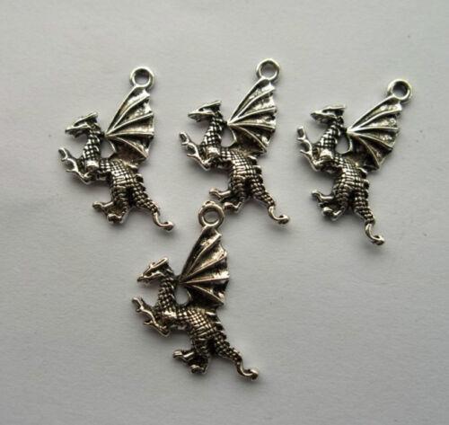 wholesale 20pcs alloy Tibetan silver dragon charm pendant 23.5x15mm