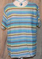 Qvc Simply Susan Graver So Pretty Scramble Knit Crew Neck Striped Sweater 2x