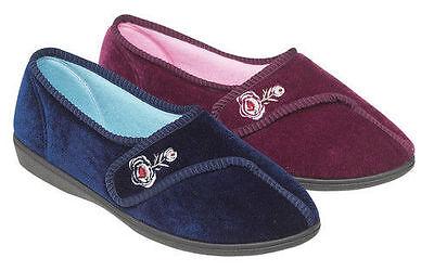 * Zapatos para mujer, señoras Jyoti Velcro Zapatillas Azul Marino, Heather-Púrpura
