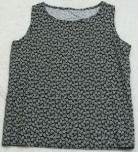 Tank-Top-Tee-T-Shirt-Sleeveless-Crewneck-Unbranded-Paisley-Blue-amp-White-Cotton