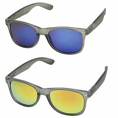 Grey Frame Matte Soft Retro 80/'s Mirrored Colorful Lens UV Sunglasses ShadyVEU