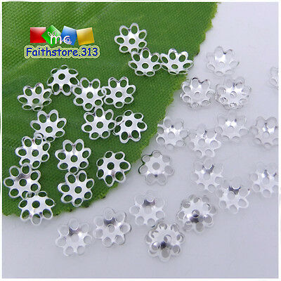500 Pcs Silver Plated Metal Hollow Flower End Beads Caps Spacer Charms 6mm P055