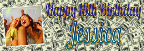 Personalised Dollar Money style photo party banner.Banners Any name,age occasion