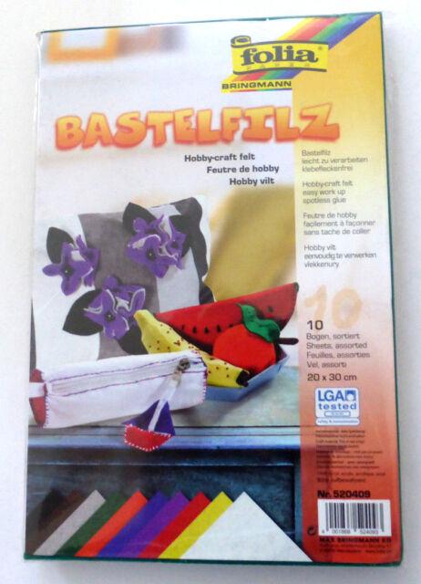 folia Bastelfilz 10 Bogen farblich sortiert 20cm x 30cm