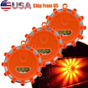 3Pcs 15-LED Safety Flare Emergency Warning Disc Light Flashing Roadside Beacon