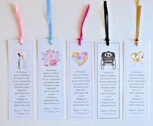Wedding bookmark favours personalised poems picture options