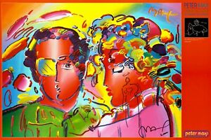 PETER-MAX-ZERO-IN-LOVE-24-X-36-FACSIMILE-SIGNED-VERY-COLORFUL