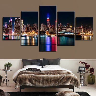 Home Garden Sin City Night Las Vegas 5 Panel Canvas Wall Art Home Decor Poster Picture Home Decor Posters Prints