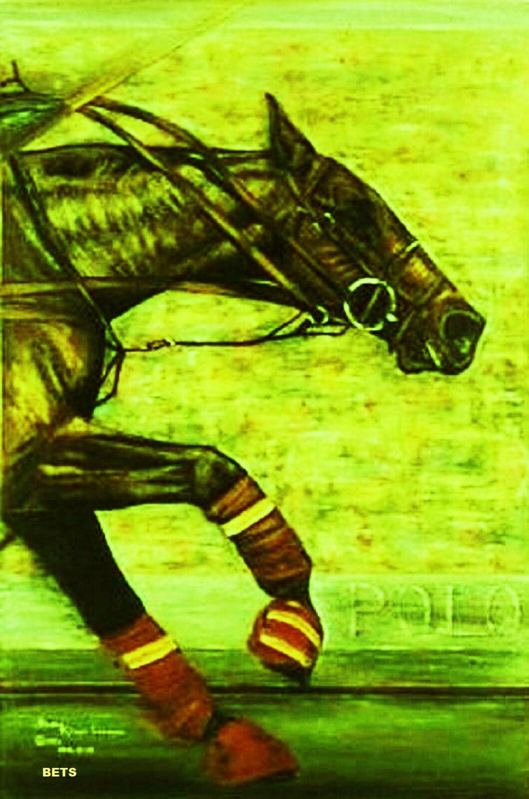 HORSE PRINT Giclee Polo Art BREAKAWAY by artist BETS 6 COLORS print size 14 X 19
