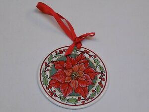 Poinsettia-Christmas-Laurie-Linn-Ball-Ornament-Santa-Barbara-Ceramic-1995-Ca-USA