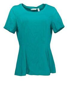 Isaac Mizrahi Live! Women's Top Sz M Short-Sleeve Seamed Peplum Green A354253