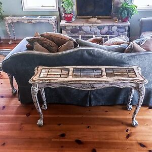 Details About Matching Large Antique Entryway Tables White Shabby Chic Sofa Table Set