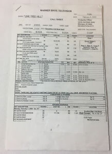 ONE-TREE-HILL-set-used-CALL-SHEET-plus-10-pages-of-sides-Season-2-Episode-17