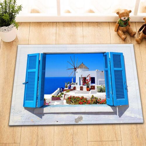 Santorini Island Windmill Polyester Fabric Shower Curtain Bath Accessory Sets