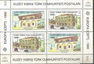 Chypre-Turc-EUROPE-cept-1990-Usee-Feuille-Bloc-Chypre