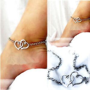 Mode Fußkette Damen Sterling Silber Doppelherz Sandle Kette Fuß Schmuck Be Shrewd In Money Matters Anklets