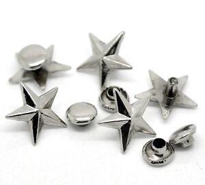 5 Stück Silber Nieten Ziernieten 10x25mm Niete Spikes Kegel Basteln Bastelnieten
