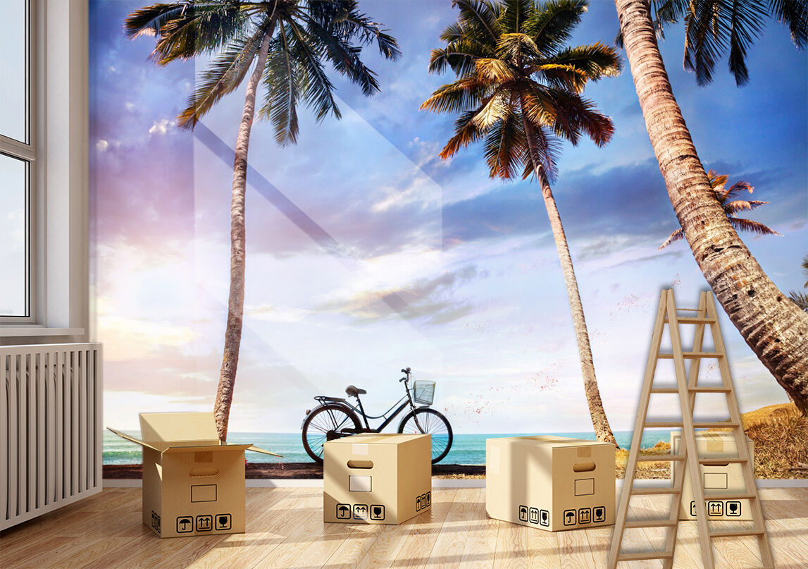 3D bicycle white coulds Wall Paper Print Decal Wall Deco Indoor wall Mural