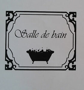 Sticker Autocollant Salle De Bain Toilettes WC Signe Porte Mur - Stickers salle de bain