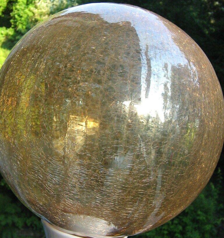 25cm große Glaskugel Gold Klar Kugel Glas Gartendeko Dekokugel Frostsicher