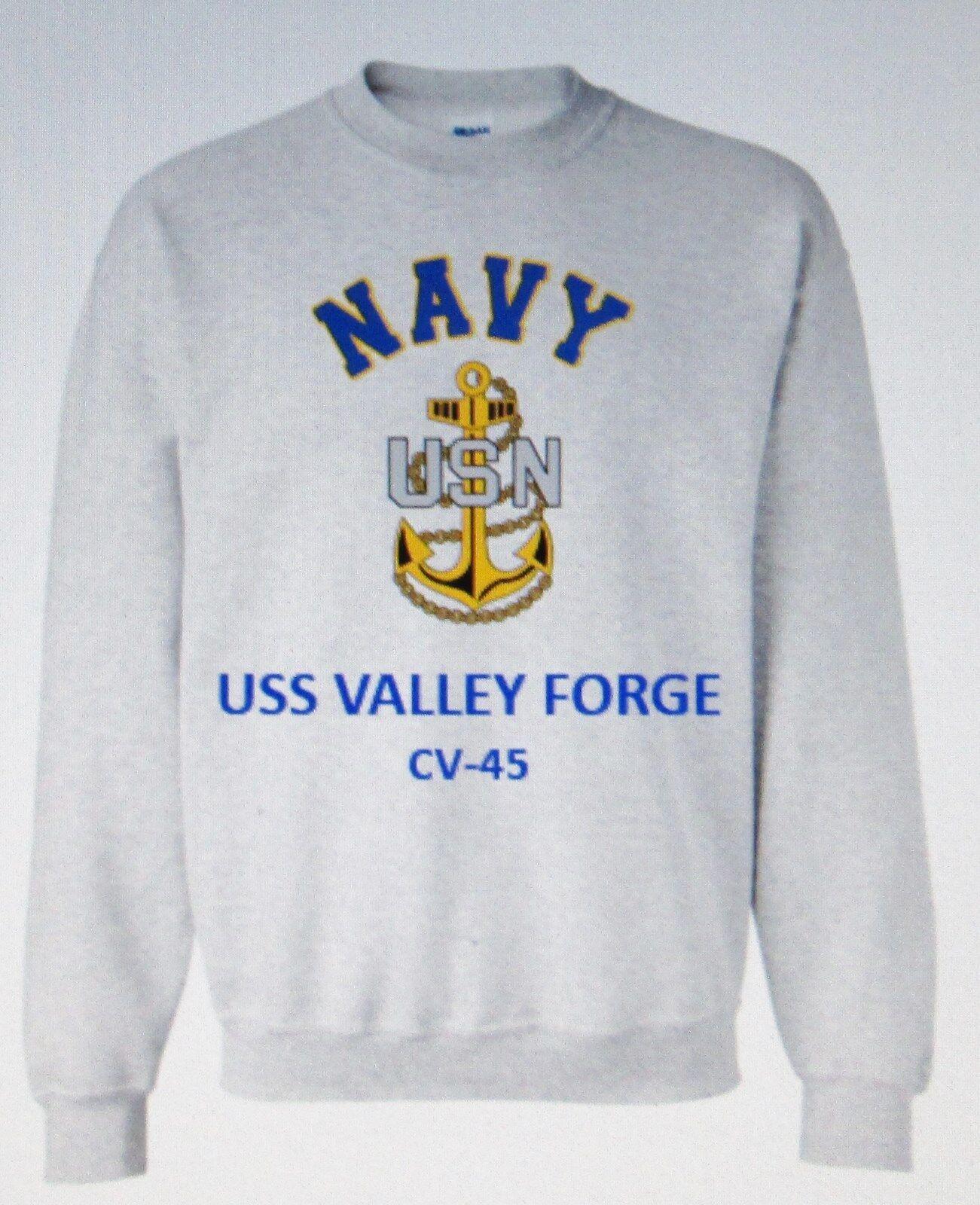 USS VALLEY FORGE  CV-45 AIRCRAFT CARRIER NAVY ANCHOR EMBLEM SWEATSHIRT