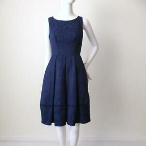 REVIEW  Fit and Flare Dress NEW Navy Blue Jacquard Size 6 US 2