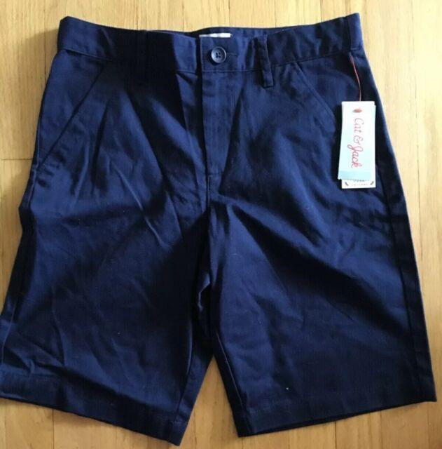 Boys Navy Blue Chino Bermuda Shorts School Uniform Pants Flat Front Cat Jack 8