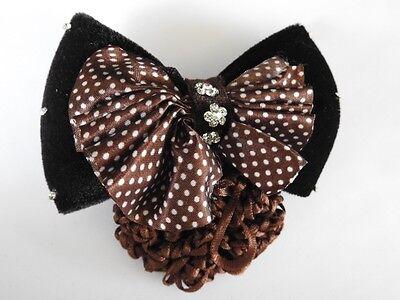black velvet bow crystal hair net barrette cover bun clip air host dance office