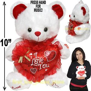 CUTE VALENTINE DAY STUFFED TEDDY BEAR I LOVE YOU GIFT PLUSH HEART MOTHER MUSIC