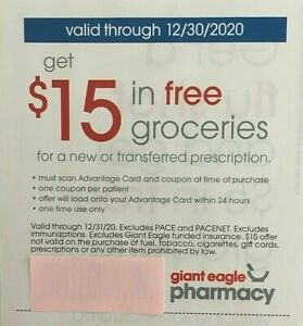 2 Giant Eagle 15 In Groceries For New Transferred Prescription Pharmacy Coupons Ebay