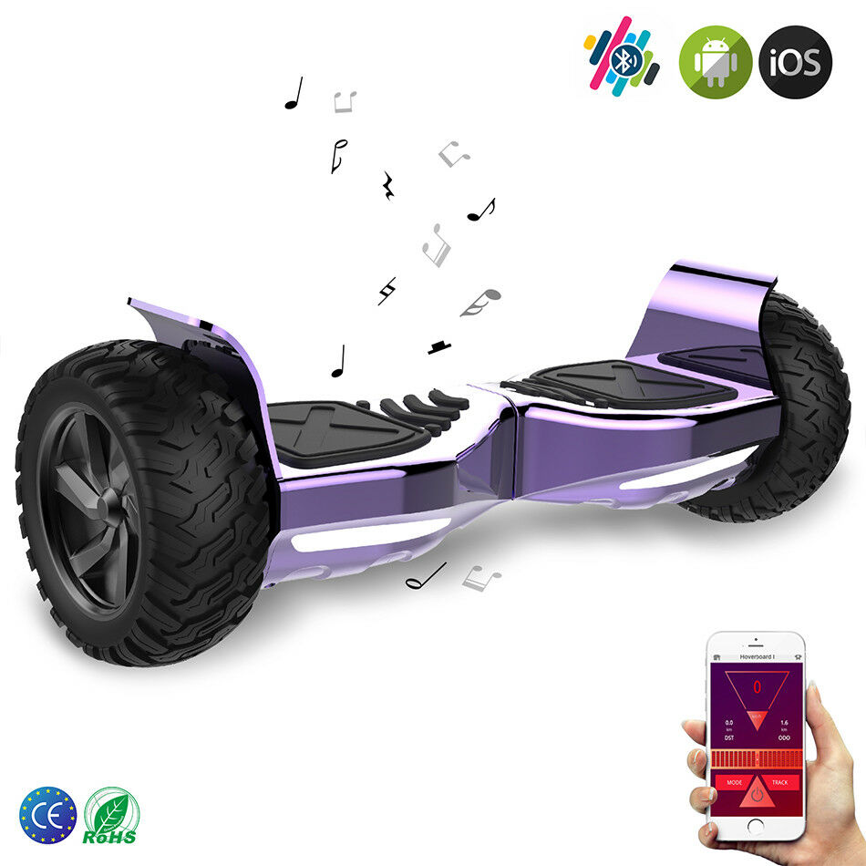 HOVERBOARD 8.5'' ELETTRICO SCOOTER SMART BALANCE BOARD  bluTOOTH&APP CHROME