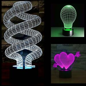 3D LED Night Light/Lamp Tornado-Bulb Shape-Hear with Arrow 3D Illusion Desk Lamp