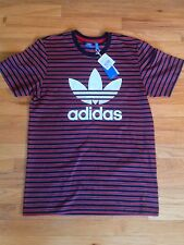 Adidas Stripes Tee Shirt F93840 Men's Medium $36 Red/Black/Grey