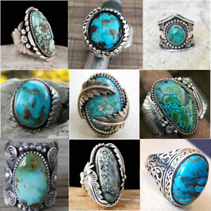 925-Sterling-Silver-Turquoise-Gems-Rings-Men-Women-Wedding-Party-Gypsy-Size-6-10