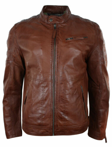 Mens Retro Style Zipped Biker Brown Genuine Real Leather Jacket
