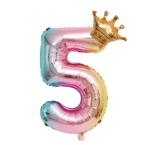 32 inch Crown Number Foil Balloon Digit Ballon Happy Birthday Party Decor Kits