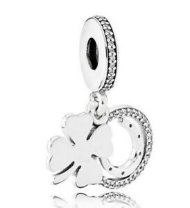 925-Sterling-Silver-Lucky-Day-Clover-Horseshoe-Clear-CZ-Charm-Dangle-Pendant