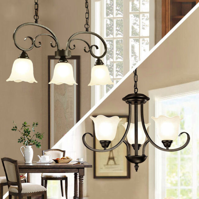 French Country 3 Lights Black Metal Ceiling Pendant Light With White Gl Shade