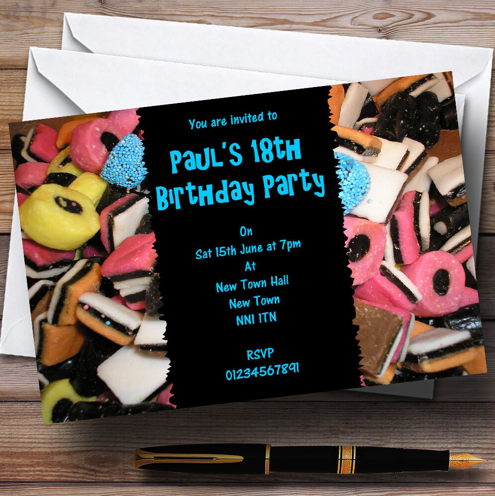 Liquorice Allsorts Blau Personalised Party Invitations