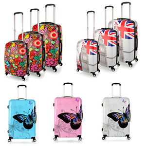 Lightweight 4 Wheel PC Hard Shell Luggage Flag/Flower/Butterfly ...