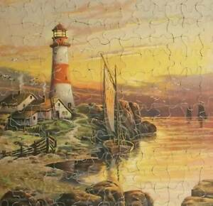 Antique-Jigsaw-Puzzle-Lighthouse-Guardian-Of-The-Night-Beautiful-Complete