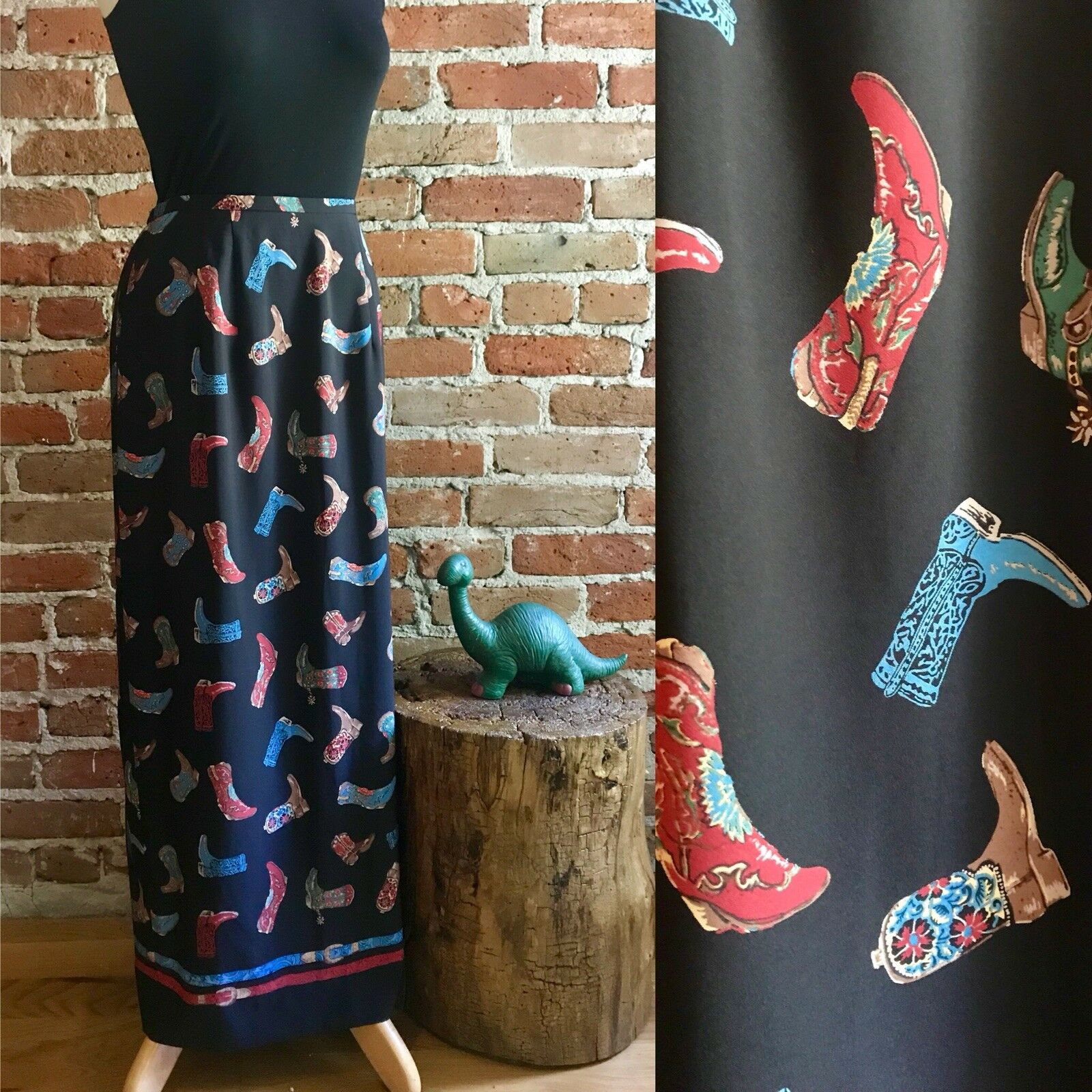 Vintage Sharon Young Whimsical Cowboy Boot Maxi Skirt, Western, Hipster