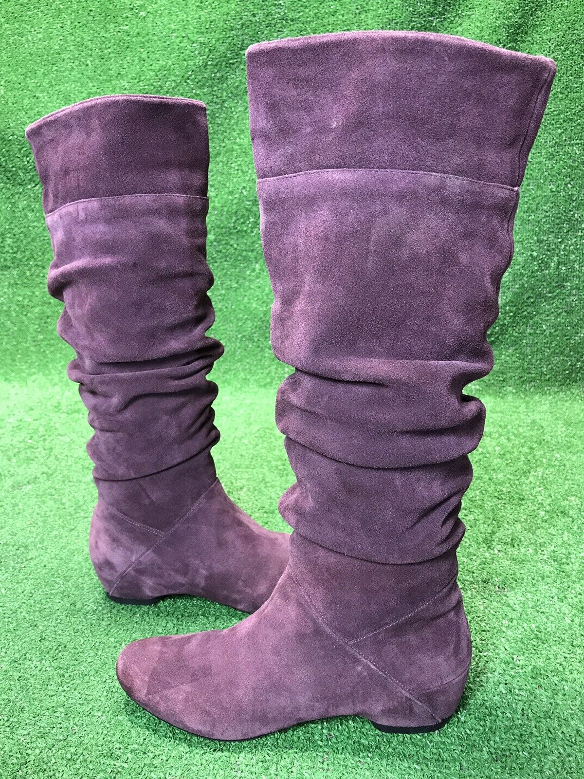 Kenneth Cole Bard Tender Plum Purple Suede Leather Knee High Slouch Boots 6