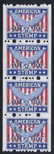 """American Stamp"" Red, White & Blue Eagle Cinderella Savings/Trading ?? Strip 4"