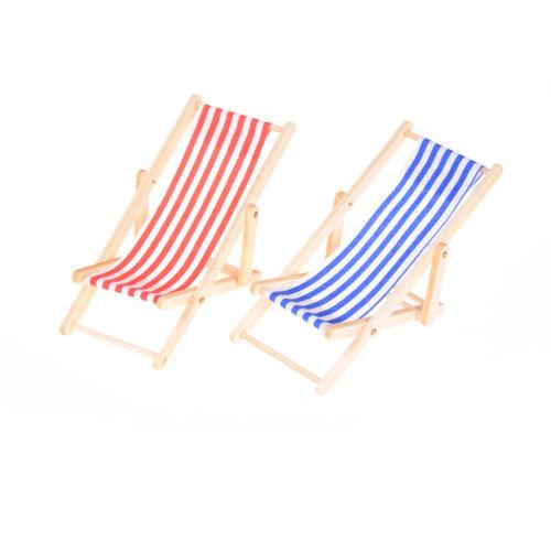 Puppenhaus-Miniaturgarten-Strand-Möbel-blauer Streifen-faltender Klappstuhl FAB Möbel