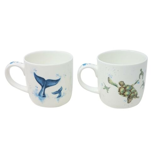 4 PCE BOXED WRENDALE OFFICIAL LICENSED WHALE & TURTLE PORCELAIN CHINA MUGS CUPS