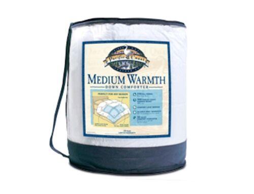 Pacific Coast® Down Comforter Medium Warmth 300 TC White Twin King Queen /& Full