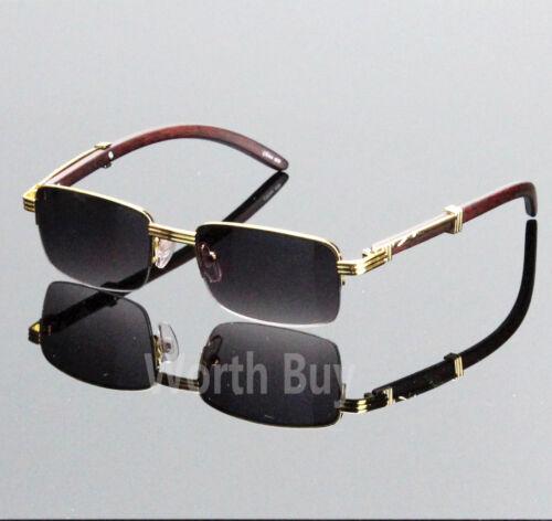 Herren Damen Retro Designer Sonnenbrille Holz Gold Halbrahmen Rahmen 80s Jahre